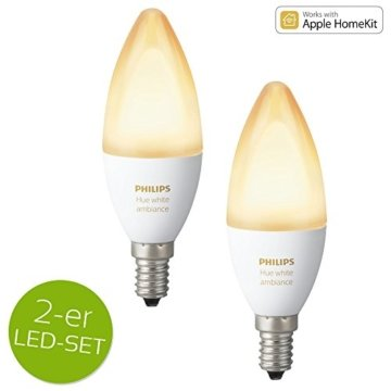 Philips Hue White Ambiance LED E14 6W ZigBee Echo Alexa kompatibel - 2er Set -