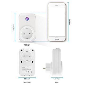 Wifi Steckdose, ELEGIANT Smart Wifi WLAN Home Steckdose intelligente Funksteckdose Wifi Adapter + eFamilyCloud App und Amazon Echo Steuerung Fernbedienung Switch mit Timing Funktion funktioniert mit Amazon Alexa (Echo, Echo Dot) Google Home für Haus und Büro kompatibel mit IOS Android iPhone 7 6s Plus 5 Samsung S8 s7 s6 s5 usw -